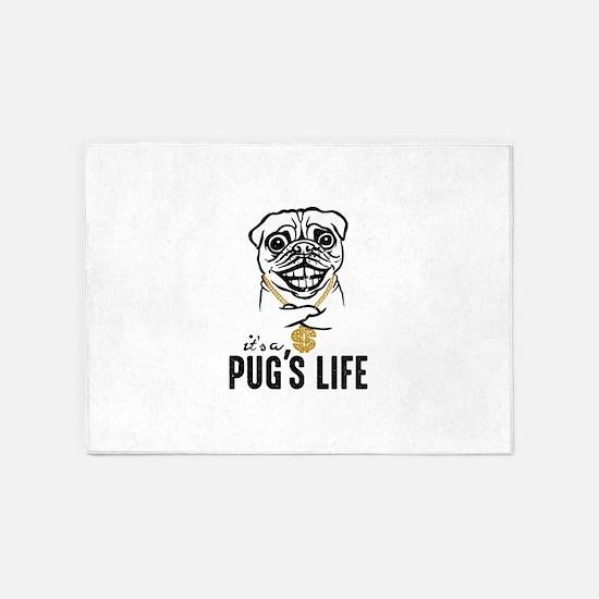 Pug's Life 5'x7'Area Rug