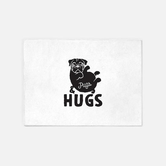 Pugs & Hugs 5'x7'Area Rug