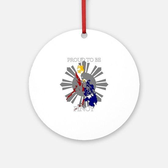 proud-pinoy-dark-sun Round Ornament