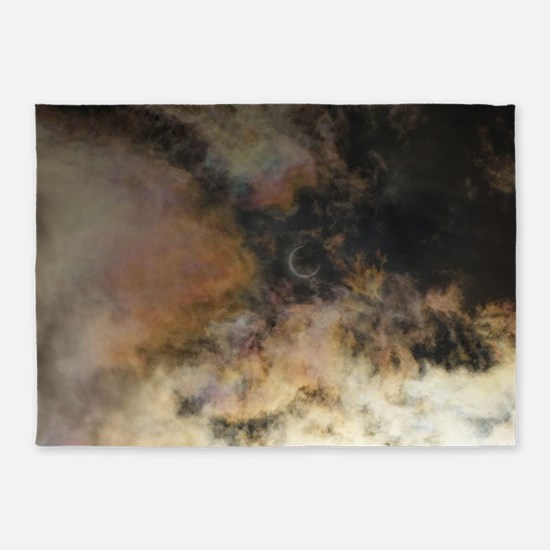 Solar Eclipse and Clouds 5'x7'Area Rug