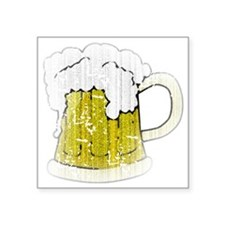 "Vintage Beer Mug Square Sticker 3"" x 3"""