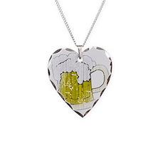 Vintage Beer Mug Necklace Heart Charm