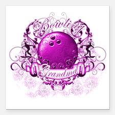 "BowlingGrandma (pink) Square Car Magnet 3"" x 3"""