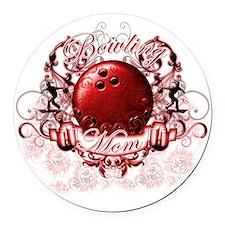 BowlingMom (red) Round Car Magnet