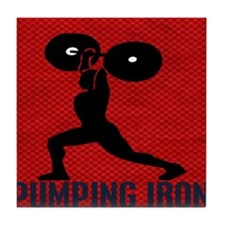 pumping_iron_10by10_red Tile Coaster