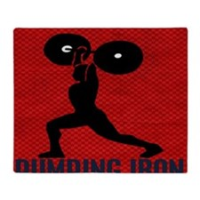 pumping_iron_10by10_red Throw Blanket