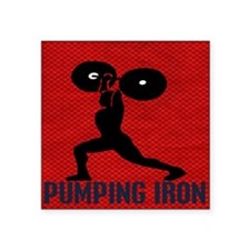 "pumping_iron_10by10_red Square Sticker 3"" x 3"""