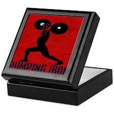 pumping_iron_10by10_red Keepsake Box