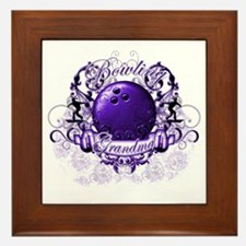 BowlingGrandma (purple) Framed Tile