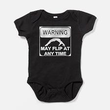 Warning may Flip gymnastics Baby Bodysuit