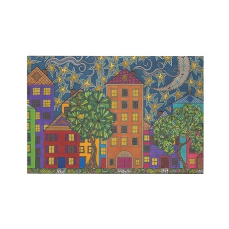 Moon Over Grace Street Rectangle Magnet