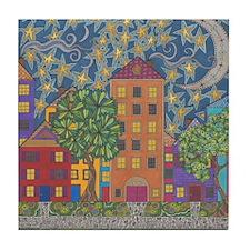 Moon Over Grace Street Tile Coaster