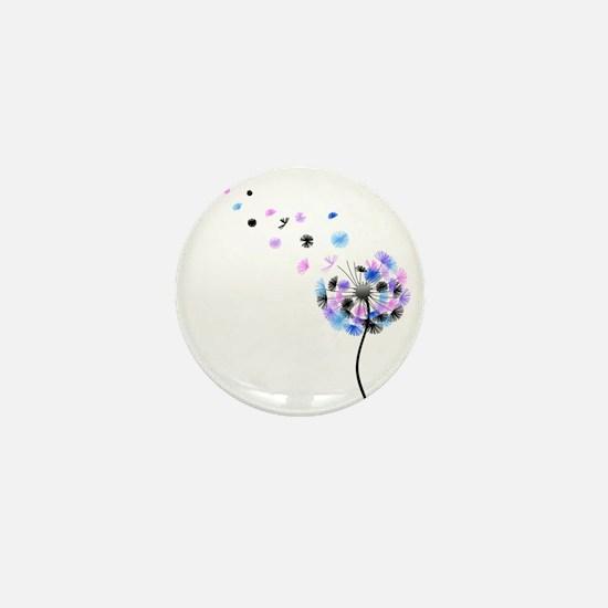 Dandelion rainbow Mini Button