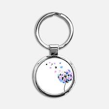 Dandelion rainbow Round Keychain
