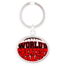 Worlds Greatest Football Coach Oval Keychain