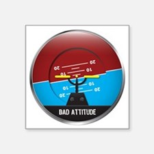 "BadAttitude_circle Square Sticker 3"" x 3"""