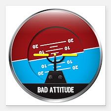"""BadAttitude_circle Square Car Magnet 3"""" x 3"""""""