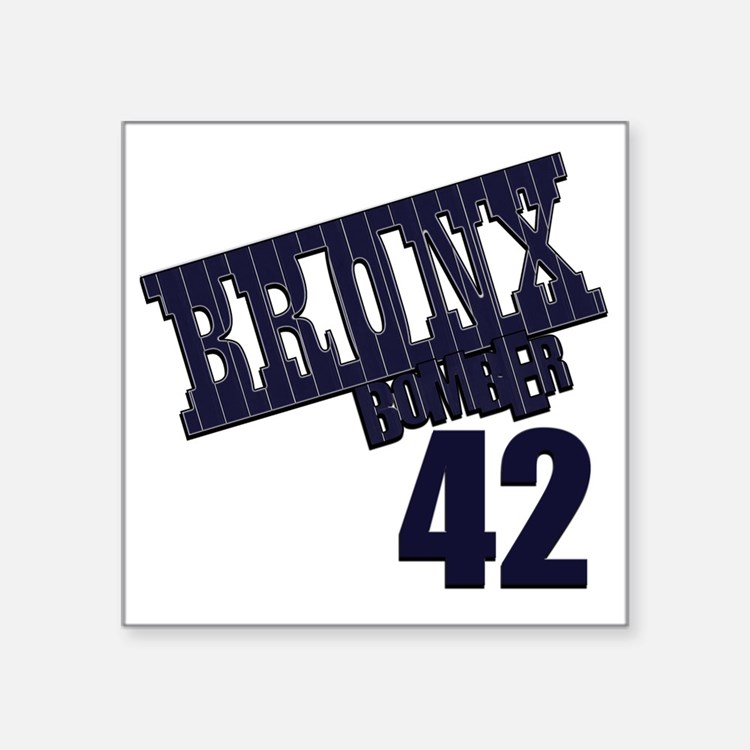 "Bronx Bomber Rivera No 42 Square Sticker 3"" x 3"""