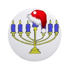 Christmas Menorah Ornament (Round)