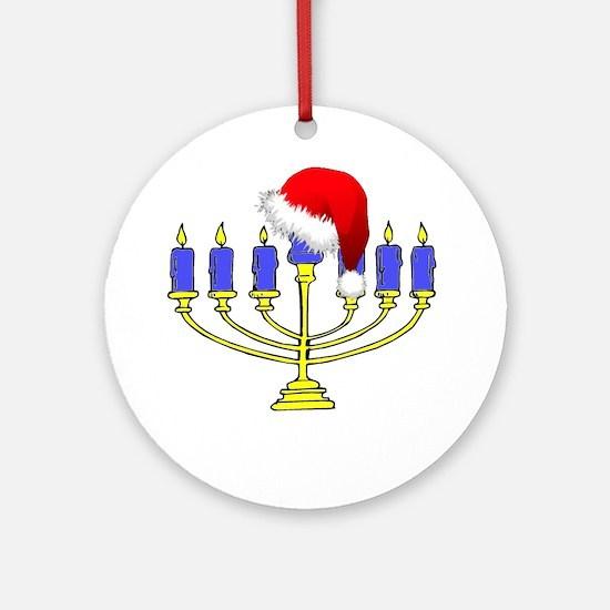 Christmas Menorah Round Ornament