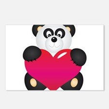Panda with Heart Postcards (Package of 8)