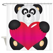 Panda with Heart Shower Curtain