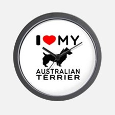 I Love My Australian Terrier Wall Clock