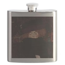 Woman with Hat and Feather Boa Flask