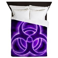 glowingBiohazard3PurpleSB Queen Duvet
