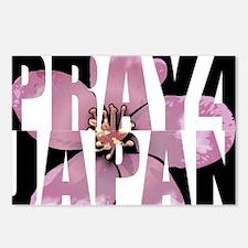 pray 4 japan black Postcards (Package of 8)