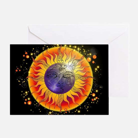 Solar Eclipse Face Wide Greeting Cards