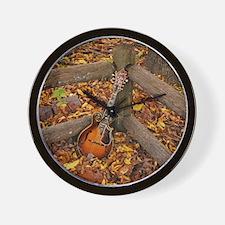 Mandolin / Mandola on Fence in Fall Lea Wall Clock