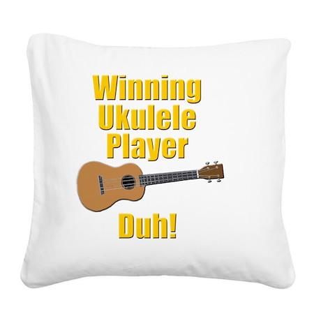 funny winning ukulele player Square Canvas Pillow