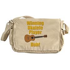 funny winning ukulele player Messenger Bag