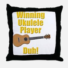 funny winning ukulele player Throw Pillow