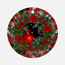 SPARKLING CARDINAL WREATH Ornament (Round)