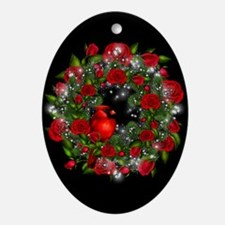 SPARKLING CARDINAL WREATH Ornament (Oval)