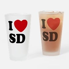 I Love SD Large Drinking Glass