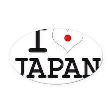 I LOVE JAPAN - FLAG Oval Car Magnet