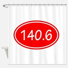 Red 140.6 Oval Shower Curtain