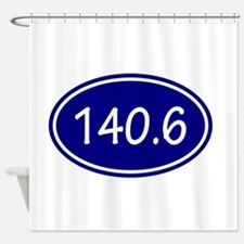 Blue 140.6 Oval Shower Curtain