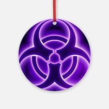 glowingBiohazard3PurpleT3BC Round Ornament