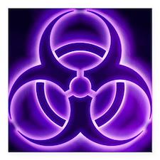 "glowingBiohazard3PurpleT Square Car Magnet 3"" x 3"""