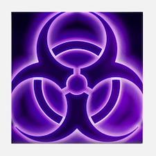 glowingBiohazard3PurpleT3BC Tile Coaster