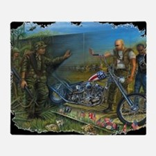 BIKER AT THE WALL Throw Blanket