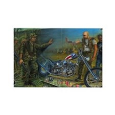 BIKER AT THE WALL Rectangle Magnet