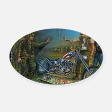BIKER AT THE WALL Oval Car Magnet
