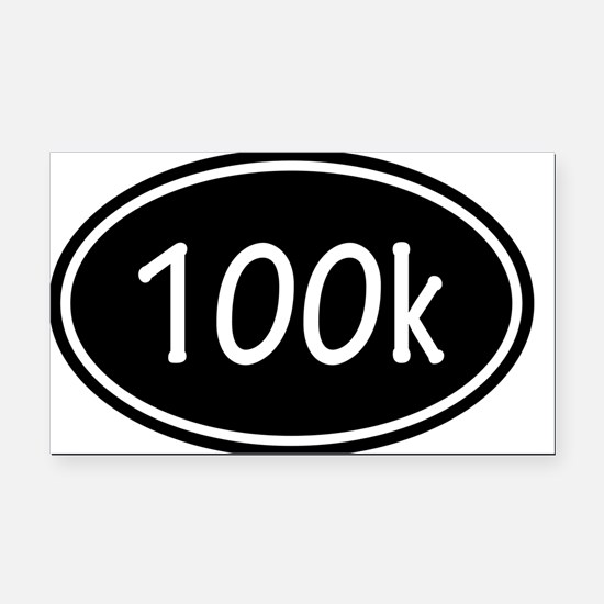Black 100k Oval Rectangle Car Magnet