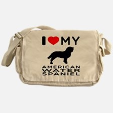 I Love My American Water Spaniel Messenger Bag