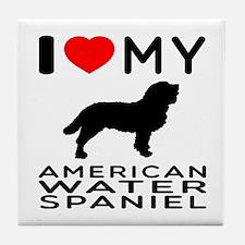 I Love My American Water Spaniel Tile Coaster